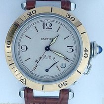 Cartier Pasha Power Reserve Two Tone Gold & Steel Leather...
