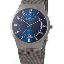 Skagen Mens Watch - Titanium case - Blue Dial - Mesh Band - Large