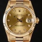 Rolex 18k Y/G Champagne Diamond Dial Mid-Size Datejust 68278