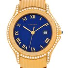Cartier Cougar 18k Yellow Gold Diamond Blue Dial Watch 11651