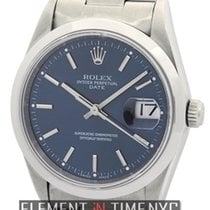 Rolex Oyster Perpetual Date Stainless Steel 34mm Blue Stick...