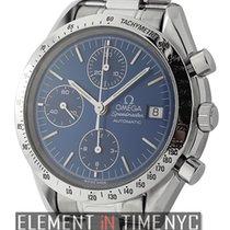 Omega Speedmaster Date Chronograph Stainless Steel Blue Dial...