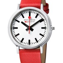 Mondaine Stop 2 Go - Stainless Case - White Dial - Red Leather...
