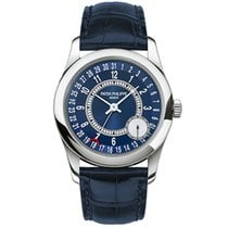 Patek Philippe Calatrava 37mm White Gold Watch Blue Leather...