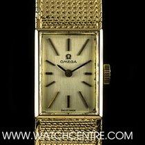 Omega 18k Y/G Silver Baton Dial Vintage Ladies Wristwatch 8101