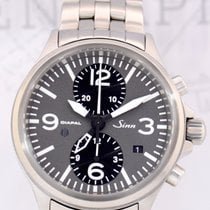 Sinn 756 DIAPAL Flieger Duochronograph GMT grey Dial Stahlband