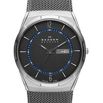 Skagen Melbye Mens Mesh Strap Watch - Grey & Blue Dial -...