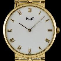 Piaget 18k Yellow Gold White Roman Dial Dress Gents Wristwatch