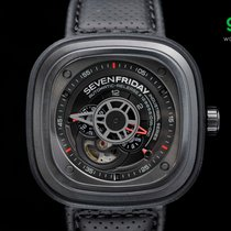 Sevenfriday P3/01 Black Pvd 47mm, Gun Metal & A Touch Of Red