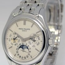 Patek Philippe Mens Perpetual Calendar 18k White Gold Watch...