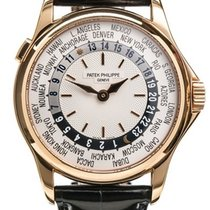 Patek Philippe 18k Rose Gold Silver Dial World Time Gents