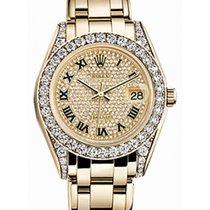 Rolex Pearlmaster 34 81158 Diamond Paved Roman Diamond Set...