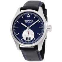 Alpina Startimer Pilot Blue Dial Black Leather Strap Men's...