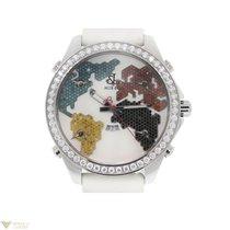 Jacob & Co. White Stainless Steel Diamonds Leather Unisex...