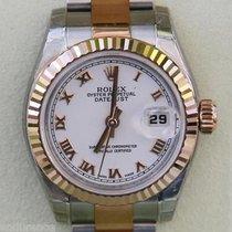 Rolex Ladies Datejust Watch Rose Gold Steel White Roman Two...
