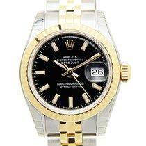 Rolex 勞力士 女裝日誌型 黑色錶盤 自動機械 間金錶帶 179173