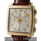 TAG Heuer Monaco Chronograph 38mm 18k Yellow Gold Silver Dial...