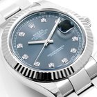 Rolex 41mm Datejust ll Factory Silver Diamond - Box & Papers