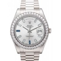 Rolex Day Date II President 218349 41mm 18k White Gold Silver...