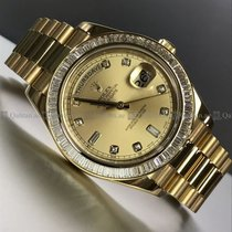 Rolex - Day Date2 full YG Diamond Baguette Bezel