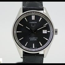 TAG Heuer Carrera Calibre 5 automatic steel/leather