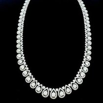 Fashion 13.19CT Diamond and Pear Shaped Necklace 18k White...