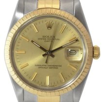 Rolex Date Men's Steel and Gold Watch, Champagne Stick...