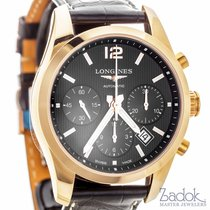 Longines Conquest Classic Black Dial Chronograph Watch 18k...