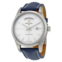 Breitling Transocean Day & Date Automatic Silver Dial Blue...