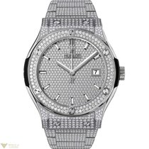 Hublot Classic Fusion Titanium Bracelet Full Pave Men's Watch