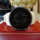 Gucci Ref. 114-4 Black Diamond Digital Round Rubber Strap Watch