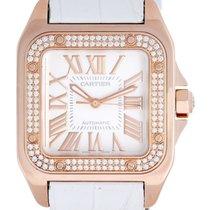 Cartier Santos 100 18k Rose Gold Diamond 33mm Unisex Watch...