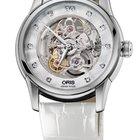 Oris Artelier Skeleton Diamonds White Leather Bracelet