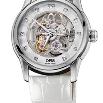 Oris Artelier Skeleton Diamonds White Leather Bracelet