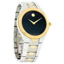 Movado Luno Mens Two Tone Black Dial Stainless Steel Swiss...