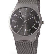 Skagen Mens Watch - Titanium case - Charcoal grey dial - Mesh...