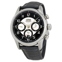 Oris Raid Automatic Black and Silver Dial Black Leather Watch...