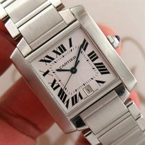 Cartier Francaise Ref. 2302 Tank Large Automatic Stainless...