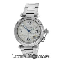 Cartier Midsize Unisex 35MM Pasha GMT 2377 Stainless Steel Date
