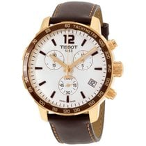 Tissot Quickster Chronograph Silver Dial Leather Mens Watch...