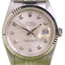 Rolex Datejust 16234 36mm Silver Diamond Factory White Gold...