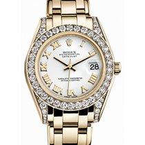 Rolex Pearlmaster 34 81158 White Roman Diamond Set Yellow Gold