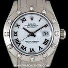 Rolex 18k W/G Diamond Bezel Pearlmaster Datejust B&P 80319