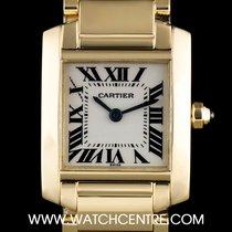 Cartier 18k Yellow Gold Silver Roman Dial Tank Francaise...