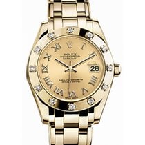 Rolex Pearlmaster 34 81318 Champagne Roman Yellow Gold Bezel...