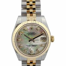 Rolex Datejust 31 MOP Diamond Fluted Jubilee Links SS/YG Watch...