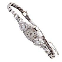 Hamilton Womens Antique Platinum and Diamond Quartz Watch...