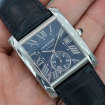 Cartier Tank Mc Blue Dial Stainless Steel Wsta0010
