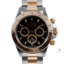 Rolex Daytona Steel and Gold Black Dial Tachymeter Engraved...