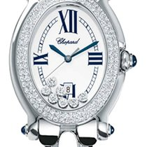 Chopard Happy Sport Oval White Dial 18kt White Gold Diamond...